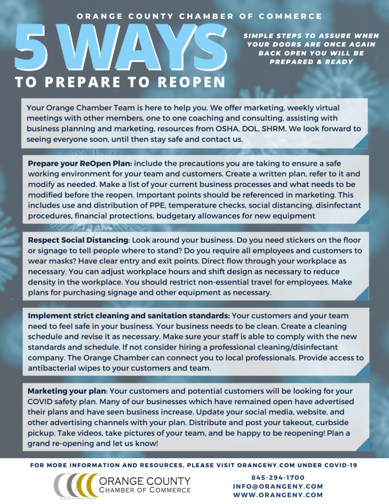 5 Ways to Prepare to Reopen - COVID-19 - Orange County, NY